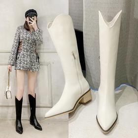 【二层牛皮长筒靴6688】筑诺坊2020冬季新款皮靴西部牛仔靴女厚底高筒尖头白色骑士长筒靴子