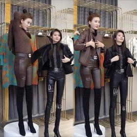 PDD-WHDZ201017新款时尚气质高腰镶钻水洗皮弹力皮裤TZF