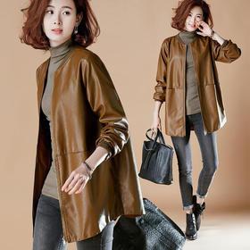 PDD-XLFF201017新款时尚气质宽松加棉中长款皮衣外套TZF