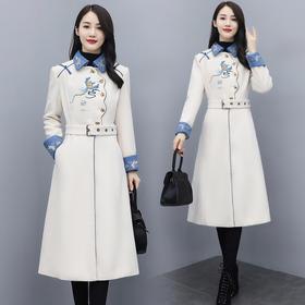 CQ-ZMFS20907新款时尚优雅气质修身绣花毛呢大衣外套TZF
