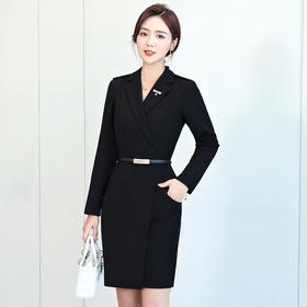 XZ1952新款时尚优雅气质西装领长袖职业包臀裙TZF