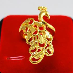 NY-NE001009新款黄铜镀金富贵孔雀开口戒指TZF