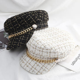 QSDZ新款时尚气质小香风链条平顶粗花呢鸭舌帽TZF