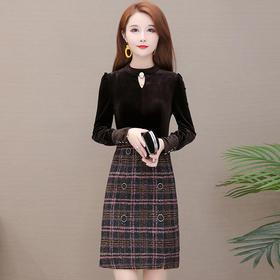 YWE-JLNH-AMA82新款气质修身圆领长袖加厚金丝绒拼接格子中长款连衣裙TZF