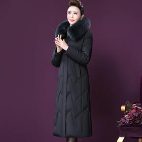 WXY-QY-8803W新款高端优雅连帽狐狸毛领中长款白鸭绒羽绒服外套TZF