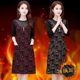 MQ-RK218-1新款时尚洋气修身网纱拼接格子连衣裙TZF
