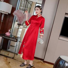 WLZD20266新款中国风高端优雅气质修身立领长袖绣花长款连衣裙TZF