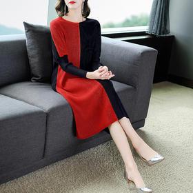 AHM-mds6963新款时尚优雅气质宽松圆领长袖印花拼接中长款连衣裙TZF