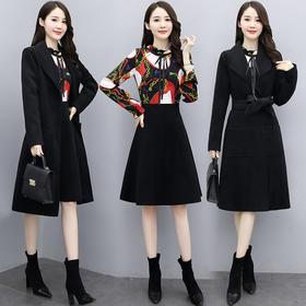 CQ-XSLG066新款时尚气质羊绒外套拼接印花连衣裙两件套TZF