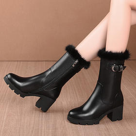 KBY-LD723新款时尚气质圆头加绒保暖粗高跟中筒靴TZF