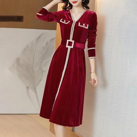 WLZD2024108新款优雅气质V领长袖丝绒珍珠腰带连衣裙TZF