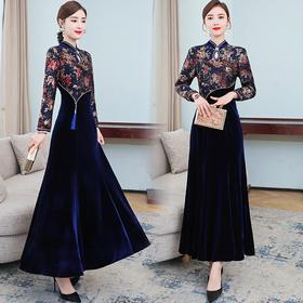 AHM-hzj2093新款时尚优雅气质修身立领长袖丝绒刺绣连衣裙TZF