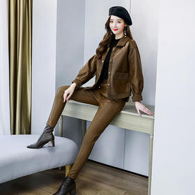 HRFS-WH82099新款潮流时尚气质皮毛一体正反两面穿外套长裤两件套TZF