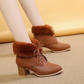 LN5566新款时尚气质尖头加绒保暖粗跟马丁靴TZF