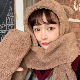 【为思礼】超可爱秋冬保暖帽,小熊帽子+围巾+手套三合一呵护到位!满足冬季小懒惰,双层保暖绒柔软舒适易折叠。学生成人百搭保暖帽