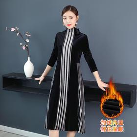 AHM-olz1800新款时尚优雅气质宽松高领长袖加绒中长款丝绒条纹连衣裙TZF