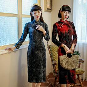 MES9261新款优雅气质修身显瘦改良立领长袖丝绒提花中长款旗袍TZF