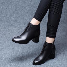 LN5844新款时尚气质圆头短粗跟马丁靴TZF