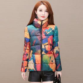 YWE-KED96A58A新款时尚气质修身立领加厚保暖印花短款棉服外套TZF