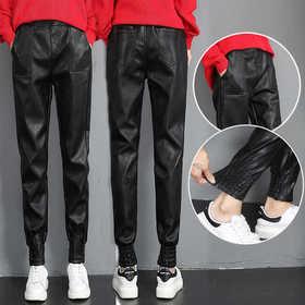 PDD-MGZ201020新款时尚气质休闲宽松高腰PU皮哈伦皮裤TZF