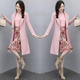 CQ-XBL200新款时尚优雅气质毛呢外套打底衫印花半身裙三件套TZF