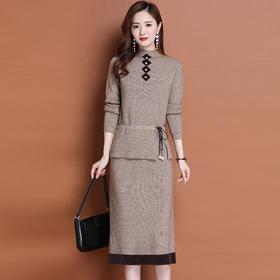 MQ1489-5新款时尚气质休闲针织上衣半身裙两件套TZF