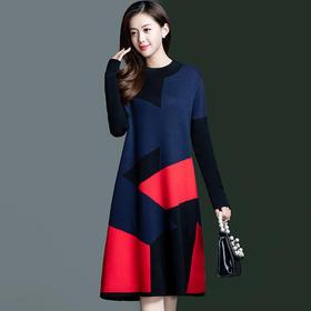 YWE-KED809新款时尚气质修身圆领长袖中长款拼色针织连衣裙TZF