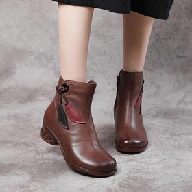 PMXY-930-1新款时尚真皮加绒圆头粗中跟中筒靴TZF