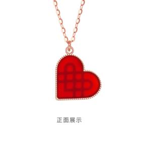 经典时尚百搭爱心银吊坠项链红玛瑙套链女送生日礼物