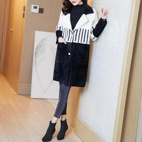 AHM-tywf1032新款韩版时尚百搭仿水貂绒中长款加厚大衣外套TZF