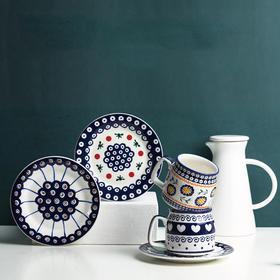 「波兰手绘陶瓷餐具」SVENSKA波兰手绘设计款多用盘子 陶瓷水杯 家用简约创意北欧盘果盘餐具瓷器