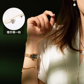【11.11赠手镯1枚】「年度星品 小绿表」SUNKTA森系细带孔雀石幸运小绿表日本进口机芯女士ins风轻奢复古小方盘手表