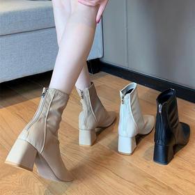 网红弹力瘦瘦靴 加绒靴子女粗跟 秋冬短靴中跟马丁靴英伦风方头