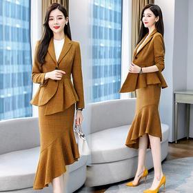 CQ-ZYQ7027新款时尚优雅气质修身不规则西装外套半身裙两件套TZF