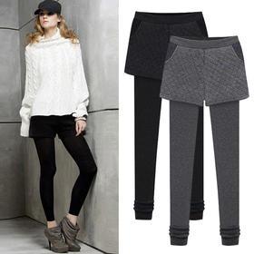 OMW4009新款时尚气质修身显瘦假两件加绒加厚小脚裤TZF