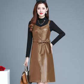 QYM-ZQ-ZSFQ2022-Y新款时尚气质中长款针织打底裙PU皮背带裙两件套TZF