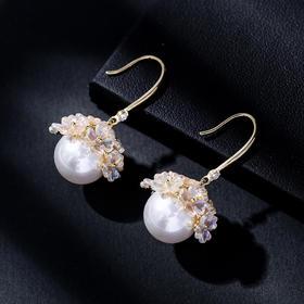 DLSP-H3780新款潮流时尚个性花朵仿珍珠耳环TZF