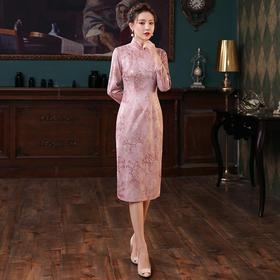 XGT-Q2486新款优雅气质修身立领长袖中长款麂皮绒印花旗袍裙TZF