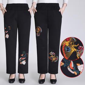 MQ1625-908新款时尚气质休闲高腰刺绣加绒棉裤TZF