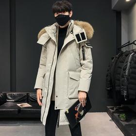 QYF-QY896新款韩版时尚气质连帽大毛领中长款加厚羽绒服外套TZF