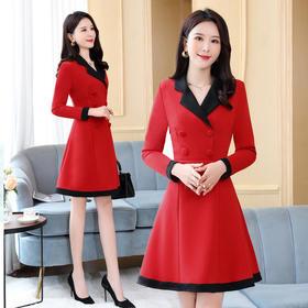 HRFS-WB00609新款时尚气质百搭收腰显瘦西装领长袖双排扣连衣裙TZF