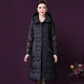 WXY-YN-20622W新款中国风优雅气质修身连帽手工刺绣90白鹅绒中长款羽绒服外套TZF