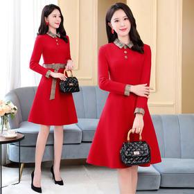 HRFS-WB00659新款时尚百搭收腰显瘦小翻领长袖单排扣连衣裙TZF