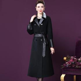 WXY-XY-8828新款高端时尚优雅气质绵羊皮拼接羊毛大衣外套TZF
