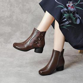 MLD89518新款民族风优雅气质真皮圆头侧拉链粗跟短靴TZF