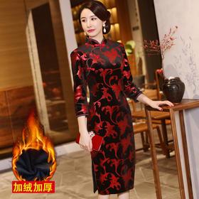 MQ18Q33新款中国风优雅气质立领长袖印花加绒保暖旗袍TZF