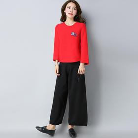 【清仓特价 不退不换】E8822+E8836时尚气质针织衫休闲阔腿裤TZF