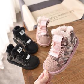 MQMY-8826新款男童女童时尚气质迷彩毛边加绒保暖棉鞋TZF