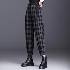 QZF-XS8670新款韩版时尚洋气宽松格子哈伦裤TZF