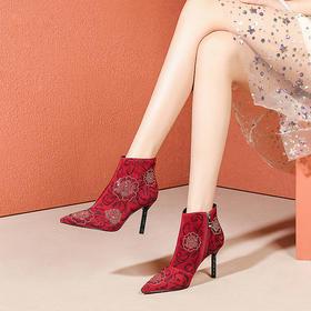 OLD-F7818新款时尚性感尖头水钻花朵细高跟短靴TZF